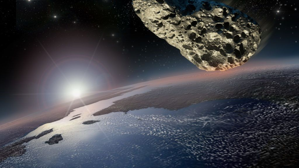 Asteroid on a collision course with Earth. The 3D mapping of Earth background uses a file provided under general permission by NASA on the following link: //www.nasa.gov/multimedia/guidelines